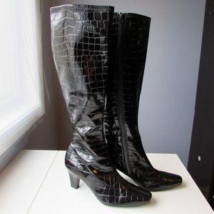 Aerosoles Patent Vinyl Croc Knee Boots 6.5 VGUC